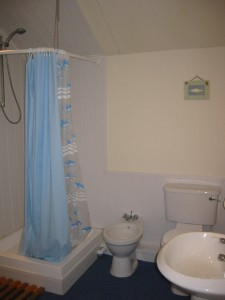 En suite bathroom in Beach Hut