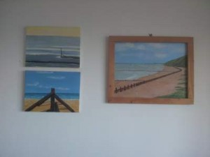 Acrylic paintings of Mundesley beach