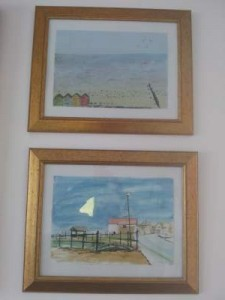 Watercolour paintings of Beach Cottage and a view of the beach from the Garden